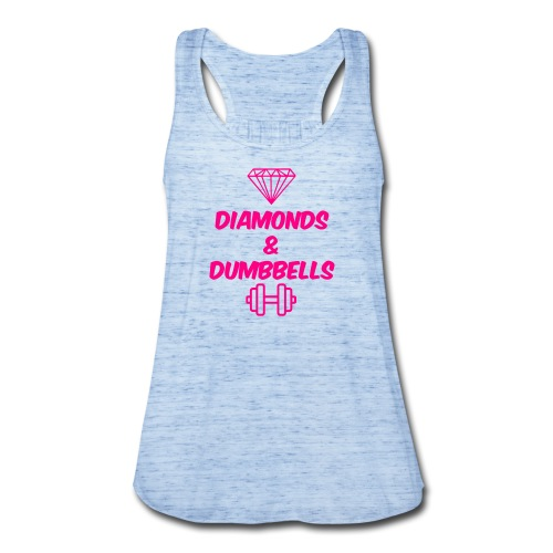 Women's Flowy Tank Top by Bella - Diamonds and Dumbbells, Fit Affinity Fitness,  Flattering, flowy and lightweight - this stylish tank top is super-soft to the touch and a comfort to wear. Featuring an A-line body and sheering at the racerback seam, its flowy and light design makes it perfect for layering or keeping cool in the summer. Merrowed hem at bottom.  *Click the Sizes Tab Below to view the Sizing Chart.