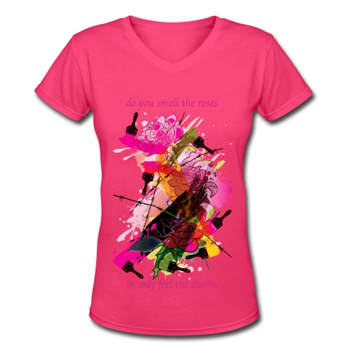 roses and thorns - Women's V-Neck T-Shirt