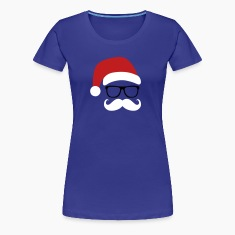 Funny Santa Claus with nerd glasses and mustache Women's T-Shirts