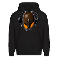 Hoodies ~ Men's Hoodie ~ Angry Reptile Alien Cartoon in DJ Headphones (Pissed Off)