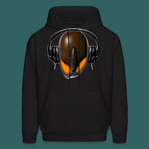 Angry Reptile Alien Cartoon in DJ Headphones (Pissed Off) - Men's Hoodie