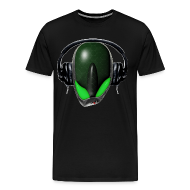 T-Shirts ~ Men's Premium T-Shirt ~ Green Angry (Pissed Off) Reptile Alien in DJ Headphones