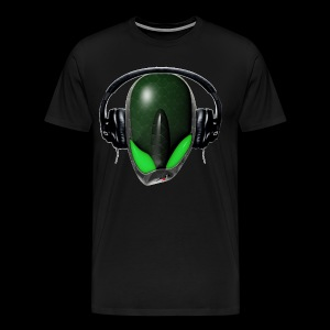 Green Angry (Pissed Off) Reptile Alien in DJ Headphones - Men's Premium T-Shirt