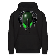 Hoodies ~ Men's Hoodie ~ Green Reptoid Alien  Pissed Off DJ in Headphones