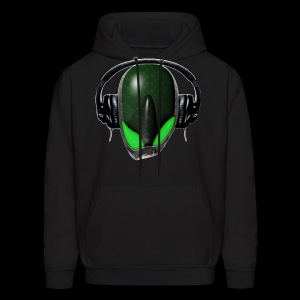 Green Reptoid Alien {Angry} Pissed Off DJ in Headphones - Men's Hoodie