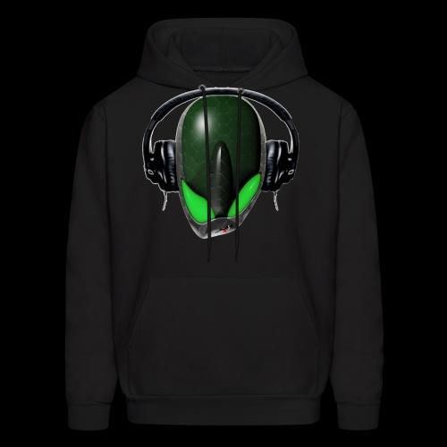 Green Reptoid Alien {Angry} Pissed Off DJ in Headphones - Men's Hoodie