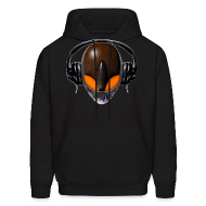 Hoodies ~ Men's Hoodie ~ Reptile Orange Alien DJ Music Lover - Friendly ET