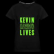 Women's T-Shirts ~ Women's V-Neck T-Shirt ~ Kevin Lives (Design by Anna)