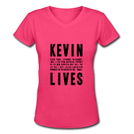 T-Shirts ~ Women's V-Neck T-Shirt ~ Kevin Lives (Design by Anna)