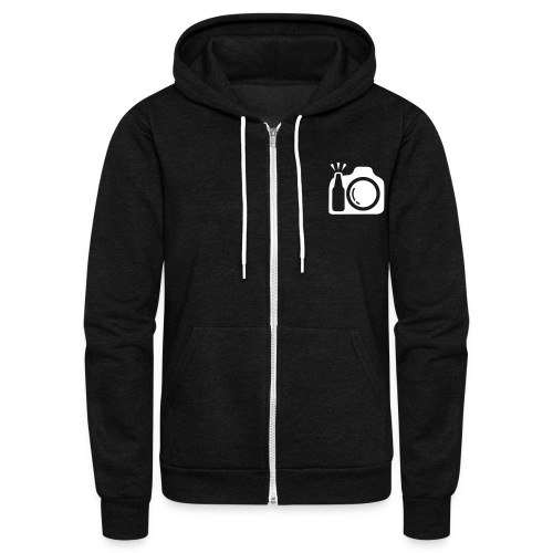 Zip Hoodie with White Logo Front - Unisex Fleece Zip Hoodie by American Apparel