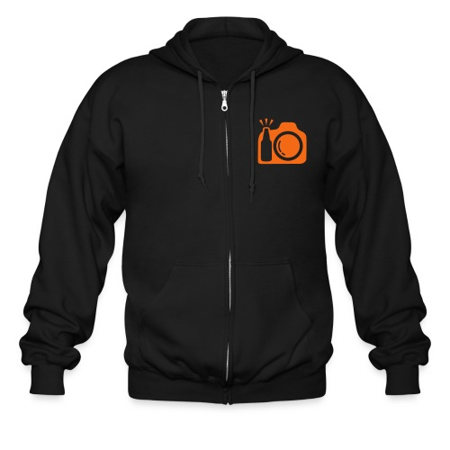 Zip Hoodie. Black Zip and Orange Logo - Men's Zip Hoodie
