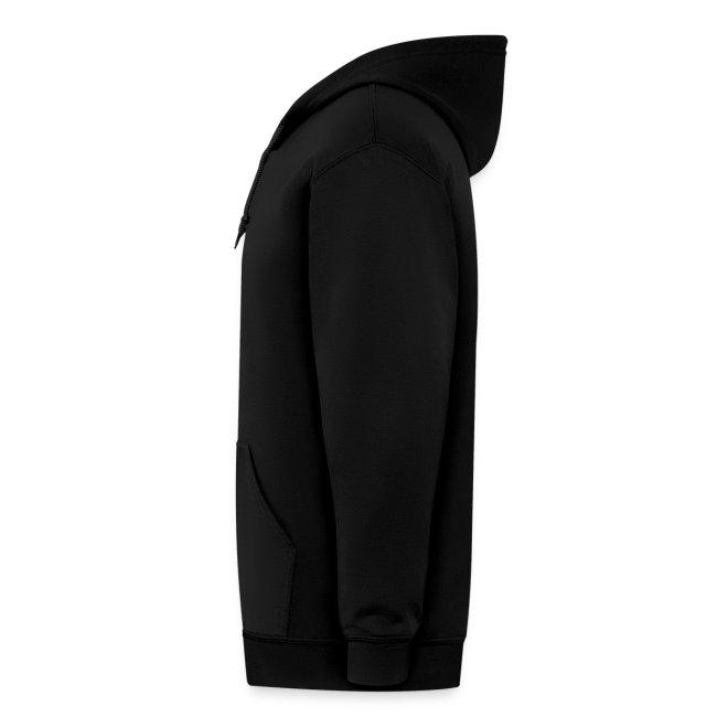 Zip Hoodie. Black Zip and Orange Logo