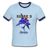 T-Shirts ~ Men's Ringer T-Shirt ~ Passpo Shark Sky/Navy