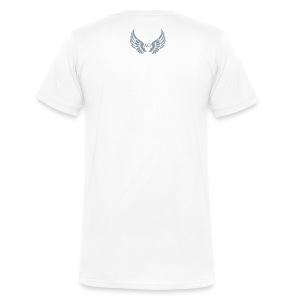 Men's/SS v neck/ small AG Logo in silver flex print on Back  - Men's V-Neck T-Shirt by Canvas