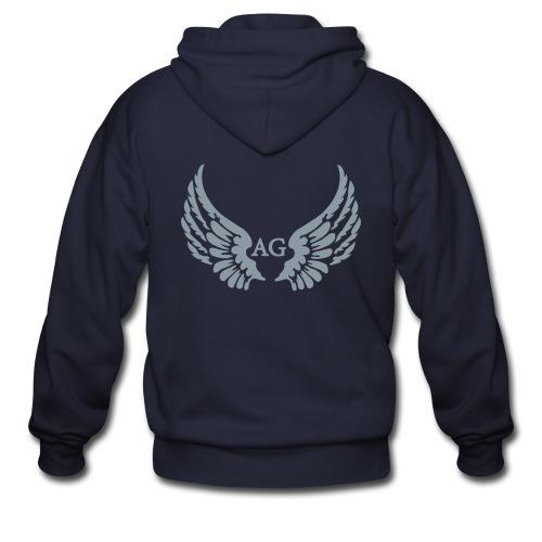 Men's/Hoodie/ Large AG Logo in silver flex print on back - Men's Zip Hoodie
