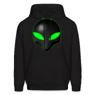 Hoodies ~ Men's Hoodie ~ Alien Bug Face Green Eyes