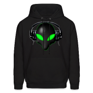 Hoodies ~ Men's Hoodie ~ Alien Bug Face Green Eyes in DJ Headphones