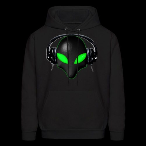 Alien Bug Face Green Eyes in DJ Headphones - Men's Hoodie