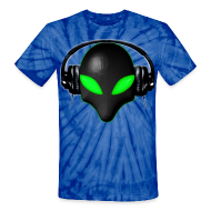 T-Shirts ~ Unisex Tie Dye T-Shirt ~ Alien Bug Face Green Eyes in DJ Headphones