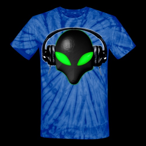 Alien Bug Face Green Eyes in DJ Headphones - Unisex Tie Dye T-Shirt