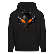 Hoodies ~ Men's Hoodie ~ Alien Bug Face Orange Eyes in DJ Headphones