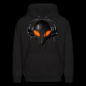 Alien Bug Face Orange Eyes in DJ Headphones - Men's Hoodie
