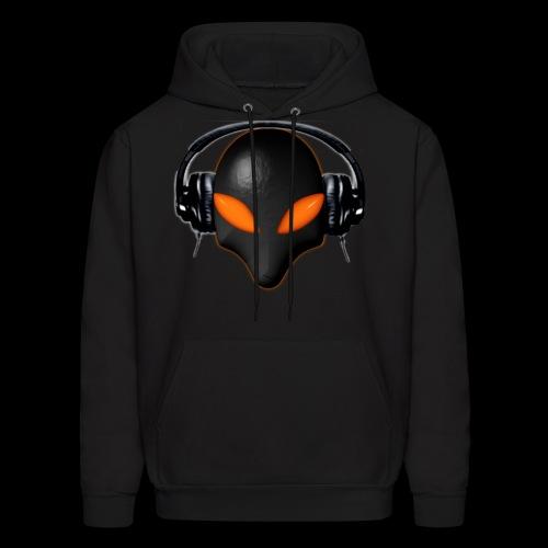 Alien Bug Face Orange Eyes in DJ Headphones - Men's Hoodie