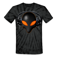 T-Shirts ~ Unisex Tie Dye T-Shirt ~ Alien Bug Face Orange Eyes in DJ Headphones