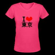 T-Shirts ~ Women's V-Neck T-Shirt ~ I Love Tokyo