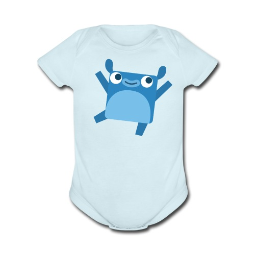Little Blue Baby Outfit - Organic Short Sleeve Baby Bodysuit
