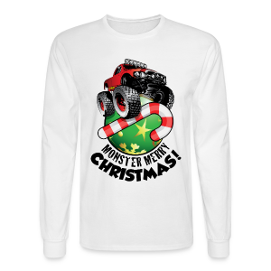 Men's Long Sleeve T-Shirt - Have a monster great christmas with this awesome monster truck design from Off-Road Styles. Complete with candy-cane and ornament.