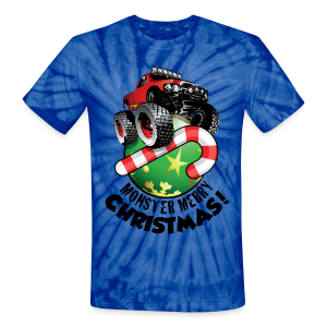 Unisex Tie Dye T-Shirt - Have a monster great christmas with this awesome monster truck design from Off-Road Styles. Complete with candy-cane and ornament.