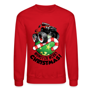 Crewneck Sweatshirt - Have a monster great christmas with this awesome monster truck design from Off-Road Styles. Complete with candy-cane and ornament.