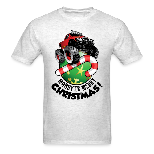 Men's T-Shirt - Have a monster great christmas with this awesome monster truck design from Off-Road Styles. Complete with candy-cane and ornament.