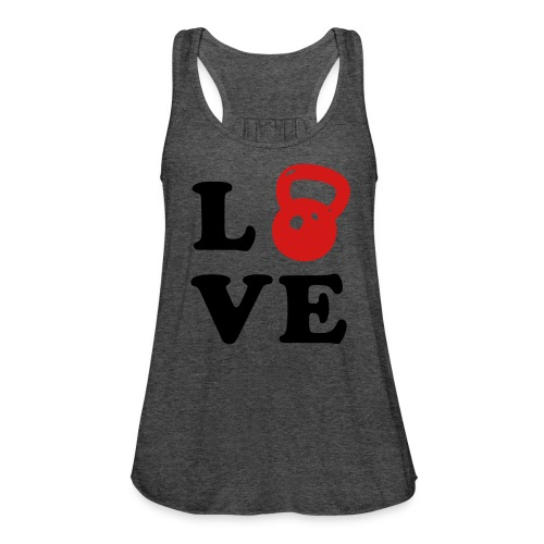 Womens LOVE Kettlebell WorkOut Racerback - Women's Flowy Tank Top by Bella