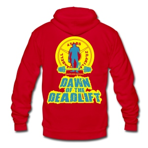 Dawn of The Deadlift Womens Hoodie - Unisex Fleece Zip Hoodie by American Apparel