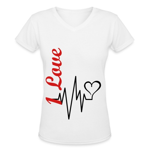 1 Love T-Shirt V neck - Women's V-Neck T-Shirt