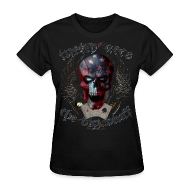 Women's T-Shirts ~ Women's T-Shirt ~ Lucky Aces Skull Gambler the big bluff tattoo