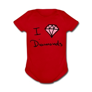 I Love Diamonds Cutztom Jewlz Ent Baby One Pc  - Short Sleeve Baby Bodysuit