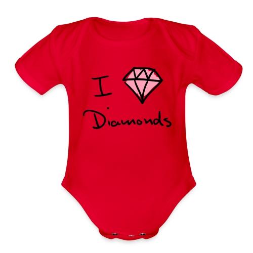 I Love Diamonds Cutztom Jewlz Ent Baby One Pc  - Organic Short Sleeve Baby Bodysuit