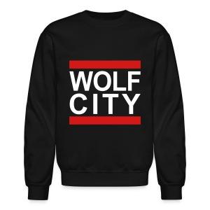 WOLF CITY Black - Crewneck Pullover - Crewneck Sweatshirt