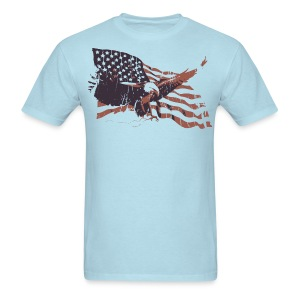 American Eagle Flying Flag Graphic T-Shirt - Men's T-Shirt