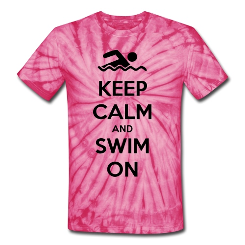 Keep Calm and Swim on T-Shirt - Unisex Tie Dye T-Shirt