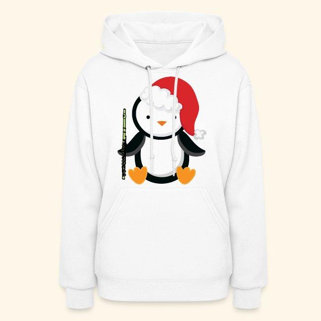 9a555739 Homewise Shopper | Flute Music Christmas Penguin Hoodie - Womens Hoodie