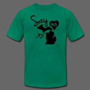 Say Yes Heart to MIchigan - Men's T-Shirt by American Apparel