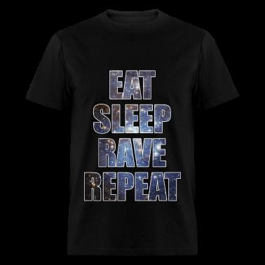 Eat Sleep Rave Repeat EDM Stars Design T-Shirts