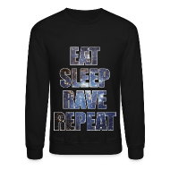 Long Sleeve Shirts ~ Men's Crewneck Sweatshirt ~ Eat Sleep Rave Repeat Stars Crewneck Sweatshirt
