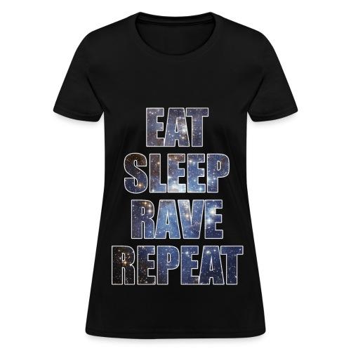 Eat Sleep Rave Repeat Stars Girls Womens T Shrit - Women's T-Shirt