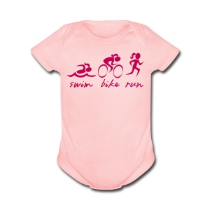 Swim Bike Run Tri Girl - Short Sleeve Baby Bodysuit