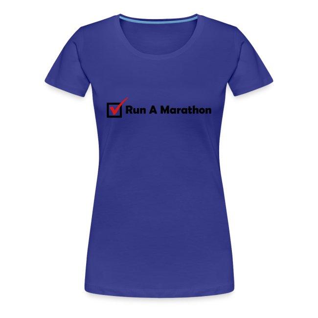 WOMENS RUNNING T SHIRT - RUN MARATHON CHECK